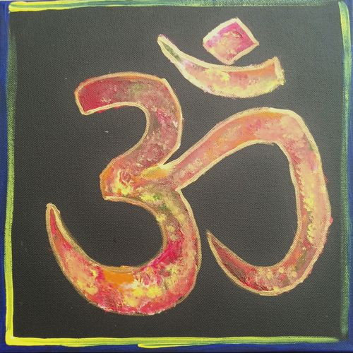 om, 12 x 12 inch, harshita chandel,paintings,religious paintings,lord shiva paintings,paintings for dining room,paintings for living room,paintings for office,paintings for hotel,paintings for school,paintings for hospital,canvas,acrylic color,fabric,12x12inch,GAL01115421335