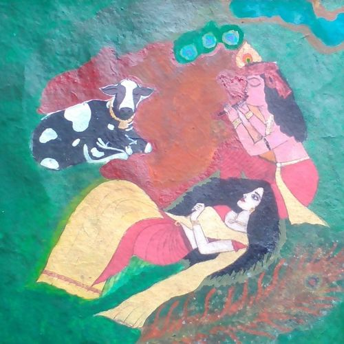 radha krishna-time, 23 x 17 inch, chithra ravindran,radha krishna paintings,paintings for bedroom,love paintings,fabriano sheet,fabric,23x17inch,GAL08312134