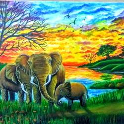 a wild life in nature, 24 x 20 inch, kyameliya mandal,paintings,abstract paintings,wildlife paintings,paintings for dining room,paintings for living room,paintings for office,elephant paintings,canvas,acrylic color,24x20inch,GAL0835321344