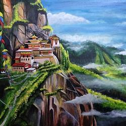 the majestic tiger's nest(taktsang,bhutan), 30 x 24 inch, kyameliya mandal,paintings,landscape paintings,nature paintings,paintings for dining room,paintings for living room,paintings for bedroom,paintings for office,paintings for hotel,paintings for dining room,paintings for living room,paintings for bedroom,paintings for office,paintings for hotel,canvas board,acrylic color,30x24inch,GAL0835321351Nature,environment,Beauty,scenery,greenery