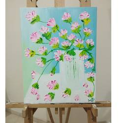 floral knife painting , 18 x 14 inch, janki rao,paintings,flower paintings,nature paintings,paintings for dining room,paintings for living room,paintings for bedroom,paintings for office,paintings for hotel,paintings for school,paintings for hospital,canvas,acrylic color,18x14inch,GAL01122421357Nature,environment,Beauty,scenery,greenery