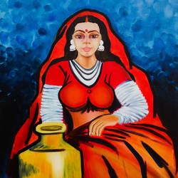 rajasthani woman 'chirmi', 18 x 25 inch, pankaj tunwal,figurative paintings,paintings for office,canvas,oil,18x25inch,GAL04332136