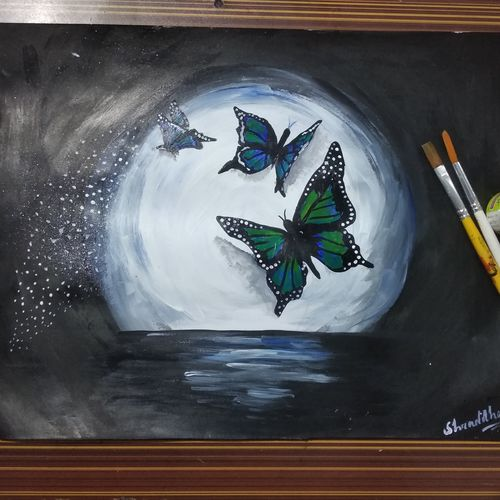 beautiful butterflies, 14 x 11 inch, shraddha suman pati,paintings,nature paintings,paintings for living room,paintings for living room,drawing paper,acrylic color,14x11inch,GAL01100821361Nature,environment,Beauty,scenery,greenery