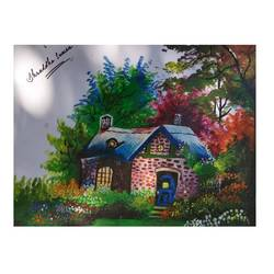 house with garden, 11 x 14 inch, shraddha suman pati,paintings,landscape paintings,paintings for bedroom,drawing paper,acrylic color,11x14inch,GAL01100821368