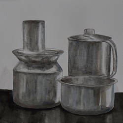 steel life, 16 x 12 inch, saurabh jathar,paintings,still life paintings,photorealism,realism paintings,realistic paintings,paintings for dining room,paintings for living room,paintings for bedroom,paintings for office,paintings for hotel,paintings for kitchen,paintings for school,paintings for hospital,brustro watercolor paper,watercolor,16x12inch,GAL0396421389