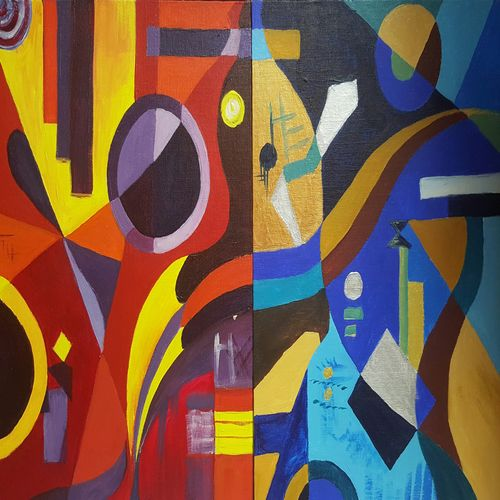 duality, 12 x 16 inch, amaey parekh,multi piece paintings,paintings for office,canvas,acrylic color,12x16inch,GAL075214