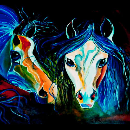 sadness show through colors, 18 x 24 inch, rajni  a,animal paintings,paintings for living room,canvas,acrylic color,18x24inch,GAL08402140