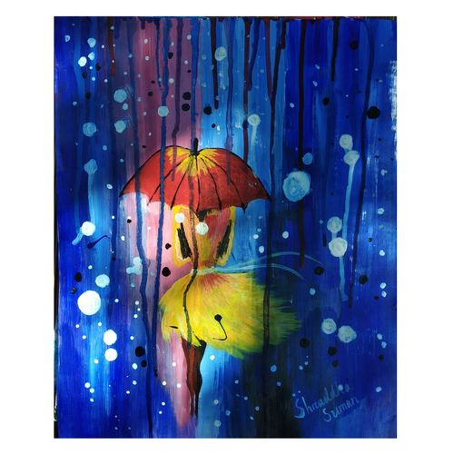 girl in rain, 11 x 14 inch, shraddha suman pati,paintings,portrait paintings,paintings for living room,drawing paper,acrylic color,11x14inch,GAL01100821404