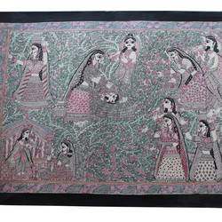 madhubani painting, 25 x 20 inch, madhuri  roy,paintings for office,madhubani paintings,silk,acrylic color,25x20inch,GAL0527621407