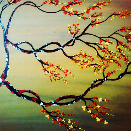 magic tree, 36 x 48 inch, rajni  a,landscape paintings,paintings for living room,canvas,acrylic color,36x48inch,GAL08402141