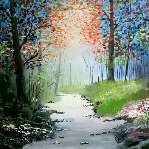 silver bed river , 24 x 16 inch, md moin ,paintings,landscape paintings,canvas,oil,24x16inch,GAL01096021422