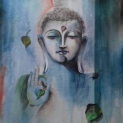 buddha 1, 21 x 29 inch, amit banerjee,paintings,religious paintings,portrait paintings,paintings for dining room,paintings for living room,paintings for bedroom,paintings for office,paintings for school,handmade paper,watercolor,21x29inch,GAL0848121427
