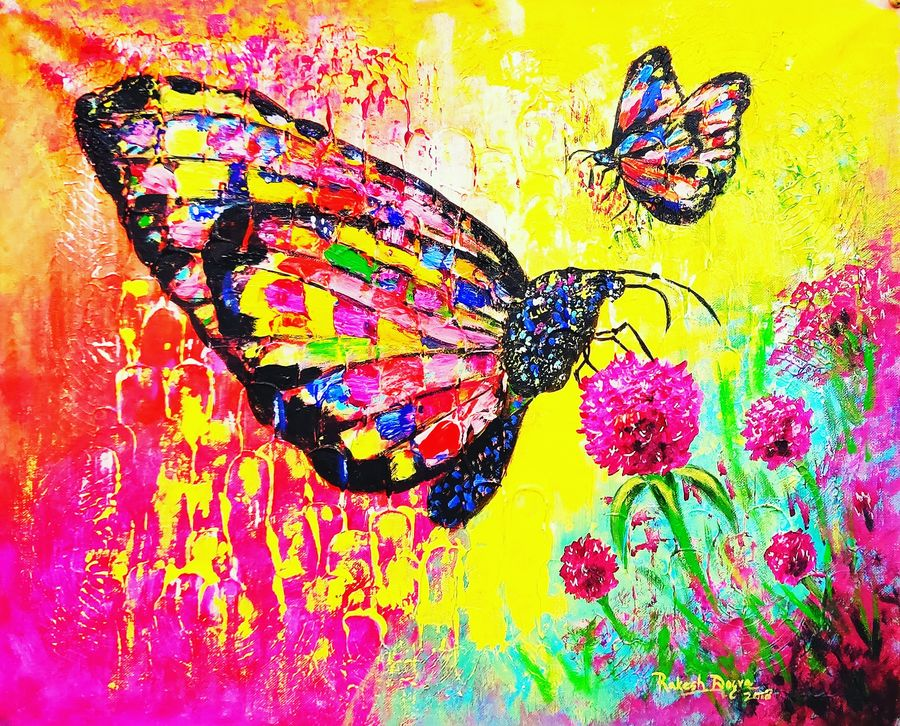 butterflies, 24 x 18 inch, rakesh dogra,paintings,abstract paintings,nature paintings,contemporary paintings,kids paintings,paintings for living room,paintings for bedroom,paintings for kids room,paintings for hotel,paintings for school,canvas,acrylic color,24x18inch,nature,landscape,butterfluy,colourful,flowers,GAL0896821429Nature,environment,Beauty,scenery,greenery
