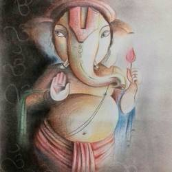 ganesha 1, 11 x 14 inch, amit banerjee,drawings,paintings for dining room,paintings for living room,paintings for bedroom,paintings for office,figurative drawings,fine art drawings,paintings for dining room,paintings for living room,paintings for bedroom,paintings for office,canvas board,charcoal,pencil color,ball point pen,11x14inch,GAL0848121431