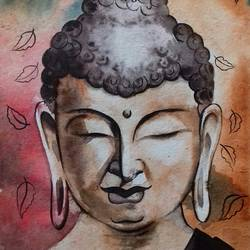 buddha 2, 11 x 15 inch, amit banerjee,paintings,religious paintings,portrait paintings,paintings for dining room,paintings for living room,paintings for bedroom,paintings for office,paintings for school,handmade paper,watercolor,11x15inch,GAL0848121432