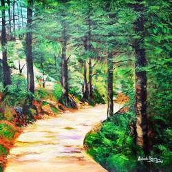 jungle trail, 24 x 18 inch, rakesh dogra,paintings,landscape paintings,nature paintings,paintings for living room,paintings for bedroom,paintings for office,paintings for school,paintings for hospital,canvas,acrylic color,24x18inch,GAL0896821433Nature,environment,Beauty,scenery,greenery