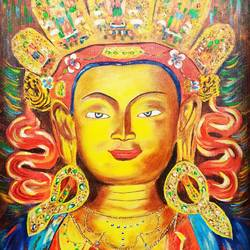 maitreya buddha, 24 x 18 inch, rakesh dogra,paintings,buddha paintings,paintings for living room,paintings for school,paintings for hospital,canvas,acrylic color,24x18inch,religious,peace,meditation,meditating,gautam,goutam,buddha,lord,traditional,yellow,GAL0896821434