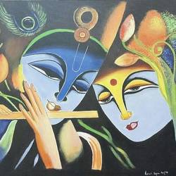 radhe krishna, 36 x 24 inch, rakesh dogra,paintings,abstract paintings,figurative paintings,religious paintings,paintings for living room,paintings for office,paintings for hotel,paintings for hospital,canvas,acrylic color,36x24inch,GAL0896821435