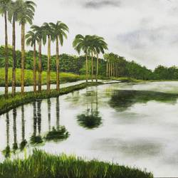 lake palms, 28 x 20 inch, rakesh dogra,paintings,landscape paintings,nature paintings,paintings for living room,paintings for bedroom,paintings for office,paintings for hotel,paintings for hospital,canvas,oil,28x20inch,GAL0896821436Nature,environment,Beauty,scenery,greenery