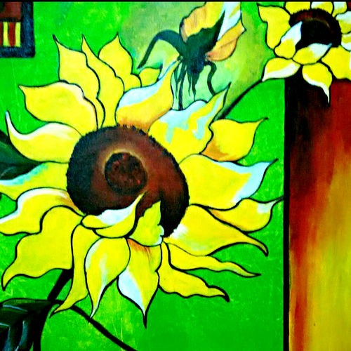 sunflowery, 48 x 36 inch, rajni  a,nature paintings,paintings for living room,canvas,acrylic color,48x36inch,GAL08402144Nature,environment,Beauty,scenery,greenery