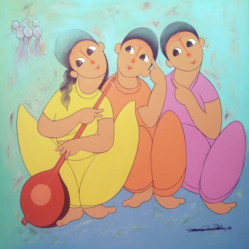 musical fun 2, 36 x 36 inch, dnyaneshwar  bembade ,paintings,figurative paintings,paintings for dining room,paintings for living room,paintings for bedroom,paintings for bathroom,canvas,acrylic color,36x36inch,GAL046421444