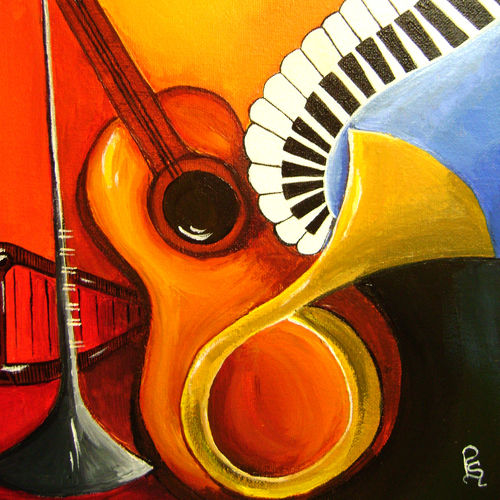 musical night, 36 x 48 inch, rajni  a,cubist paintings,paintings for living room,canvas,acrylic color,36x48inch,GAL08402145