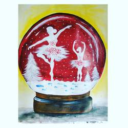 girls dancing in snow, 11 x 14 inch, shraddha suman pati,paintings,abstract paintings,paintings for kids room,paintings for kids room,drawing paper,acrylic color,11x14inch,GAL01100821456