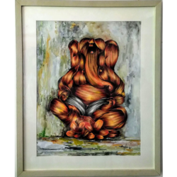 ganesh pancha bhoota positive for living room, 20 x 28 inch, vgo cart,paintings,religious paintings,paintings for living room,paintings for office,handmade paper,acrylic color,20x28inch,GAL01132721462