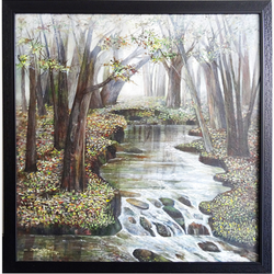 tree and water , 36 x 36 inch, vgo cart,paintings,wildlife paintings,nature paintings,paintings for living room,paintings for bedroom,paintings for hotel,canvas,oil,36x36inch,GAL01132721463Nature,environment,Beauty,scenery,greenery