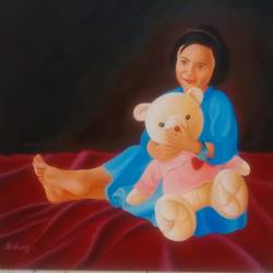 a dally with a dally , 36 x 36 inch, vikrant karyakarte,paintings,portrait paintings,kids paintings,paintings for living room,paintings for kids room,paintings for hotel,paintings for school,paintings for hospital,canvas,oil,36x36inch,GAL01123021471