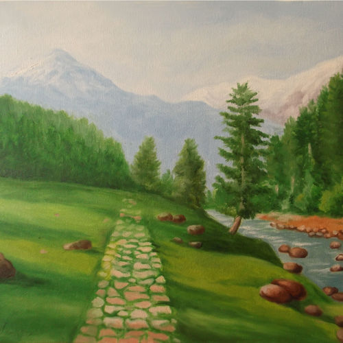 kashmir beauty , 24 x 18 inch, vikrant karyakarte,paintings,landscape paintings,nature paintings,paintings for living room,paintings for office,paintings for hotel,paintings for school,paintings for hospital,canvas,oil,24x18inch,GAL01123021472Nature,environment,Beauty,scenery,greenery
