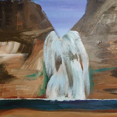 waterfall, 20 x 16 inch, josy joseph,paintings,landscape paintings,nature paintings,canvas board,acrylic color,20x16inch,GAL01132821476Nature,environment,Beauty,scenery,greenery