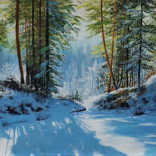 winter sunnyday , 24 x 16 inch, md moin ,paintings,landscape paintings,paintings for living room,paintings for office,canvas,acrylic color,24x16inch,GAL01096021478