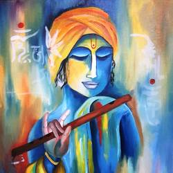 the blue krishna, 16 x 20 inch, amaey parekh,paintings,folk art paintings,abstract expressionist paintings,portraiture,radha krishna paintings,paintings for dining room,paintings for living room,paintings for bedroom,paintings for office,canvas,oil,16x20inch,GAL07521487,krishna,lordkrishna,peace,flute,music,