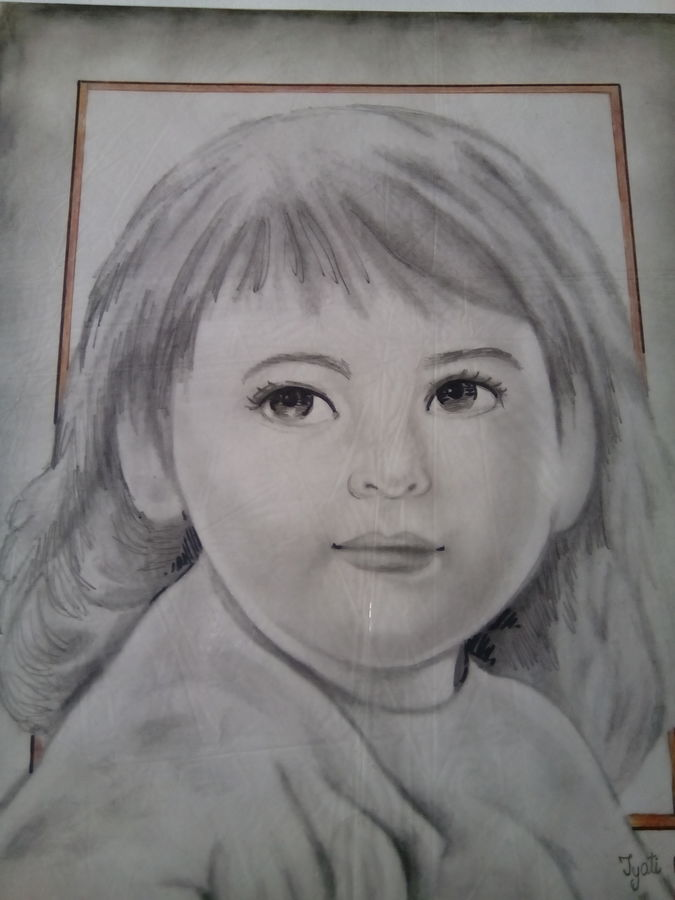 cute baby, 12 x 16 inch, jyoti chauhan,portrait paintings,paintings for living room,ivory sheet,pencil color,12x16inch,GAL08412149