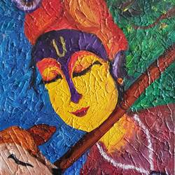 textured krishna, 12 x 16 inch, amaey parekh,paintings,abstract paintings,figurative paintings,folk art paintings,religious paintings,abstract expressionist paintings,radha krishna paintings,paintings for dining room,paintings for living room,paintings for bedroom,paintings for office,canvas,oil,12x16inch,GAL07521490,krishna,lordkrishna,love,peace,flute,devotion,