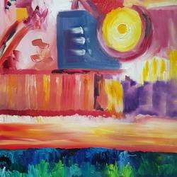 sunset by the sea, 24 x 30 inch, amaey parekh,paintings,abstract paintings,paintings for dining room,paintings for living room,paintings for bedroom,paintings for office,paintings for bathroom,paintings for kids room,paintings for hotel,paintings for kitchen,paintings for school,paintings for hospital,canvas,oil,24x30inch,GAL07521494