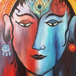 ardhanarayana, 22 x 30 inch, amaey parekh,paintings,abstract paintings,figurative paintings,folk art paintings,religious paintings,portrait paintings,radha krishna paintings,paintings for dining room,paintings for living room,paintings for bedroom,paintings for office,paintings for hotel,paintings for kitchen,paintings for hospital,canvas,oil,22x30inch,GAL07521496,krishna,love,pece,lordkrishna,lord,peace,krishna,devotion
