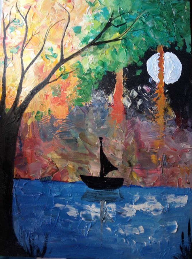 sailing under the moon, 18 x 24 inch, amaey parekh,paintings,abstract paintings,cityscape paintings,landscape paintings,modern art paintings,paintings for dining room,paintings for living room,paintings for bedroom,paintings for office,paintings for dining room,paintings for living room,paintings for bedroom,paintings for office,canvas,oil,18x24inch,GAL07521497