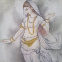 beuty, 12 x 24 inch, jyoti chauhan,paintings for bedroom,paintings for living room,figurative paintings,ivory sheet,pencil color,12x24inch,GAL08412151