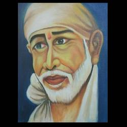 sai baba, 12 x 16 inch, anima sinha,paintings,religious paintings,paintings for living room,canvas,oil,12x16inch,GAL0966721511