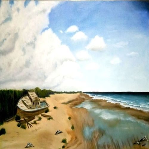 seascape nature painting, 24 x 17 inch, anandi m,paintings,landscape paintings,nature paintings,paintings for dining room,paintings for living room,paintings for bedroom,paintings for office,paintings for hotel,paintings for school,canvas,oil,24x17inch,GAL0307721514Nature,environment,Beauty,scenery,greenery
