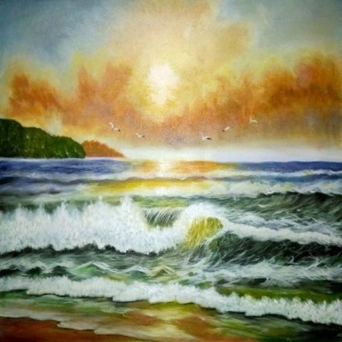 seascape painting, 24 x 17 inch, anandi m,paintings,landscape paintings,nature paintings,paintings for dining room,paintings for living room,paintings for bedroom,paintings for office,paintings for kids room,paintings for hotel,paintings for school,canvas,oil,24x17inch,GAL0307721515Nature,environment,Beauty,scenery,greenery