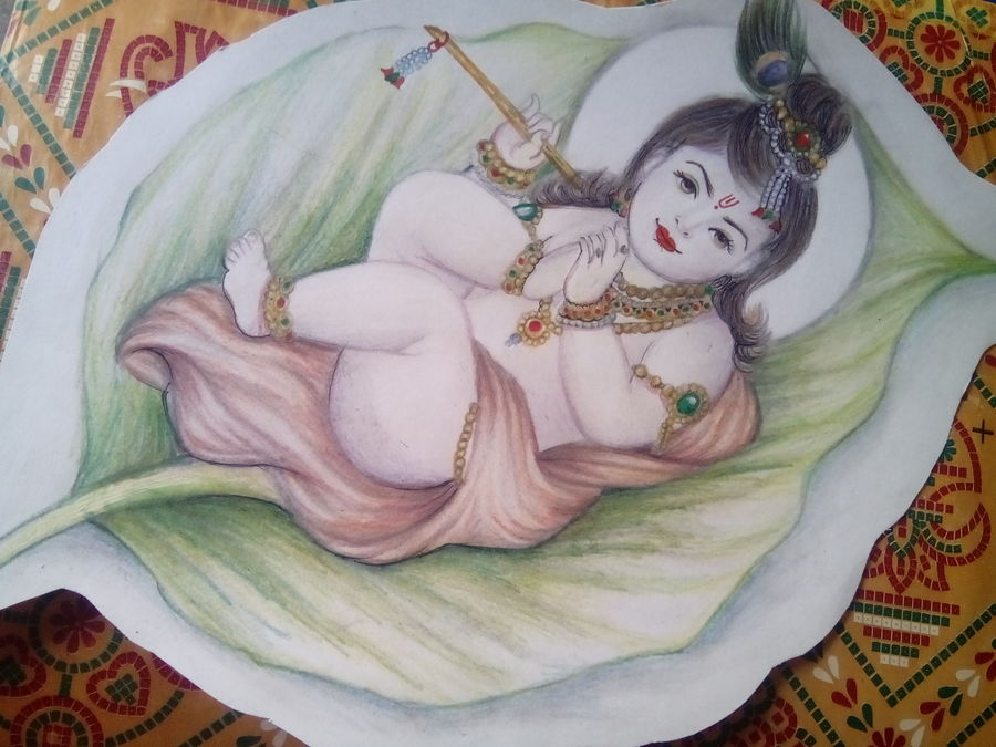 hare krishna, 18 x 14 inch, jyoti chauhan,religious paintings,paintings for living room,paintings for office,radha krishna paintings,ivory sheet,pencil color,18x14inch,GAL08412152