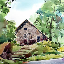 stone house, 15 x 10 inch, raji p,paintings,wildlife paintings,landscape paintings,nature paintings,paintings for dining room,paintings for living room,paintings for bedroom,paintings for office,paintings for kids room,paintings for hotel,paintings for kitchen,paintings for school,paintings for hospital,canson paper,watercolor,15x10inch,GAL059021521Nature,environment,Beauty,scenery,greenery