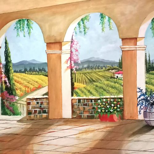 gardens through windows , 27 x 17 inch, md moin ,paintings,landscape paintings,paintings for living room,paintings for living room,canvas,acrylic color,27x17inch,GAL01096021523