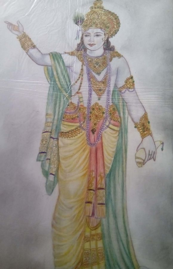 radhey radhey, 16 x 24 inch, jyoti chauhan,religious paintings,paintings for living room,radha krishna paintings,ivory sheet,pencil color,16x24inch,GAL08412153