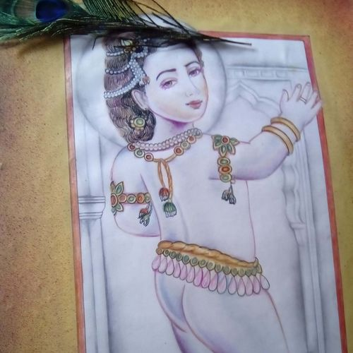 baal kanha, 16 x 24 inch, jyoti chauhan,religious paintings,paintings for living room,radha krishna paintings,ivory sheet,pencil color,16x24inch,GAL08412154