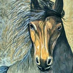 strength and spiritual , 18 x 24 inch, deepak  rathore ,paintings,horse paintings,paintings for dining room,paintings for living room,paintings for bedroom,paintings for office,paintings for hotel,paintings for school,paintings for hospital,cloth,natural color,poster color,18x24inch,GAL01111421542