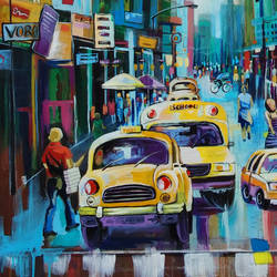 london street, 30 x 40 inch, chetna bernela,paintings,cityscape paintings,modern art paintings,paintings for living room,paintings for bedroom,paintings for kids room,canvas,acrylic color,30x40inch,GAL0784521545